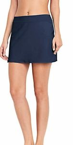 Lands End Control Top Swim Skirt Swim Mini 14 Navy